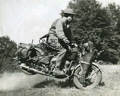 Wwii Rough Rider Army Motorcycle Messenger 8X10 Photo Harley Davidson Gas Mask