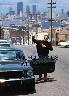 1968 Candid Steve Mcqueen Bullitt Mustang Gt Car Photo San Francisco Ca Smoking