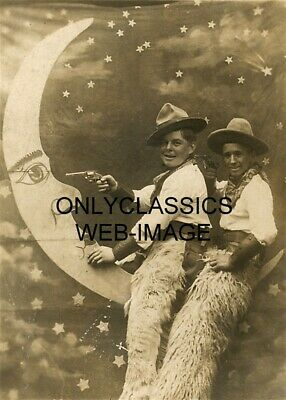 1915 Cowboys In A Paper Moon With Guns Studio Photo Wool Chaps Vintage Americana