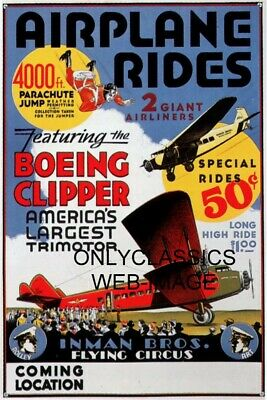 1929 Boeing Clipper Airplane Rides Flying Circus Poster Parachute Jump Daredevil