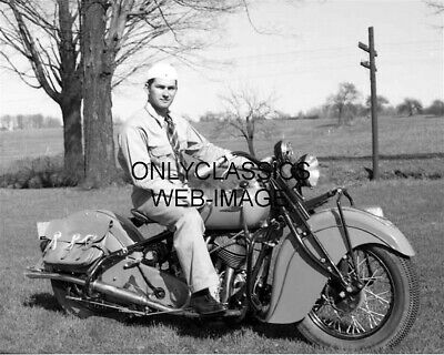 1940 Vintage Indian Motorcycle Photo Military Man Soldier Tough Guy Americana