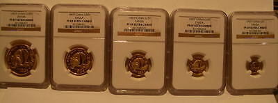 China 1987P Gold 5 Coin Full PROOF Panda Set All Coins NGC PF-69UC