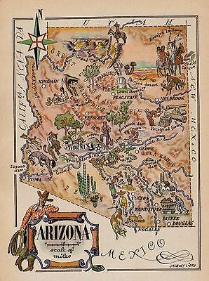 Whimsical ARIZONA Map COWBOY Broncos Indian Arizona Print 1950s Picture Map 2164