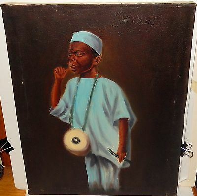 Christo Black African Man With A Drum Oil On Canvas Painting