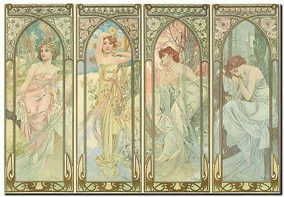 "Alphonse Mucha CANVAS PRINT Times of Day Vintage Art painting poster 24""X 36"""