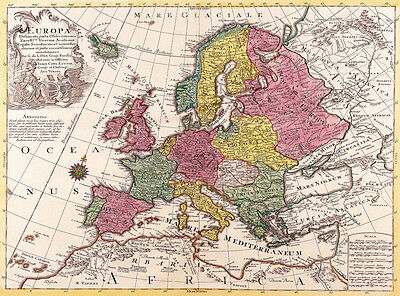 Vintage old world map of europe 1700s canvas print 24x18 poster vintage old world map of europe 1700s canvas print a3 poster gumiabroncs Gallery