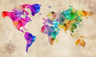World Map Modern Grunge Watercolor Abstract Art Canvas Print