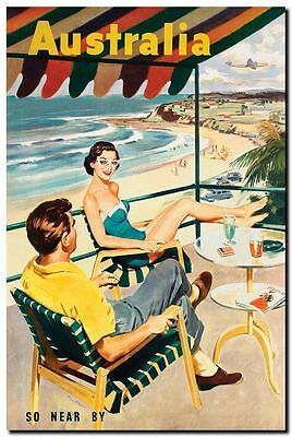 "Vintage Illustrated Poster CANVAS PRINT Australia So near beach couple 8""X 12"""