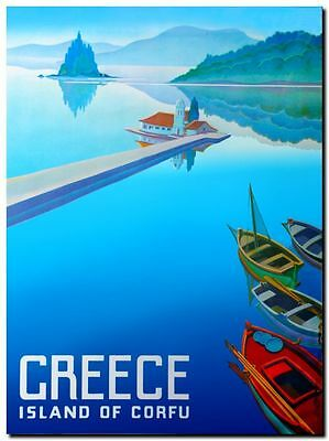 "Vintage Illustrated Travel Poster CANVAS PRINT Greece Island of Corfu 8""X 12"""