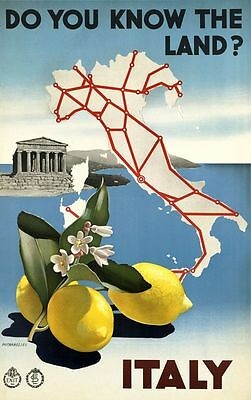 "Vintage Illustrated Travel Poster CANVAS PRINT Map of italy  8""X 12"""