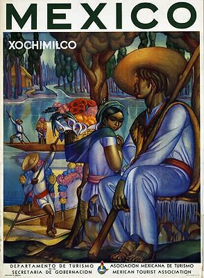 """Vintage Illustrated Travel Poster CANVAS PRINT Mexico Xochimilco 8""""X 10"""""""
