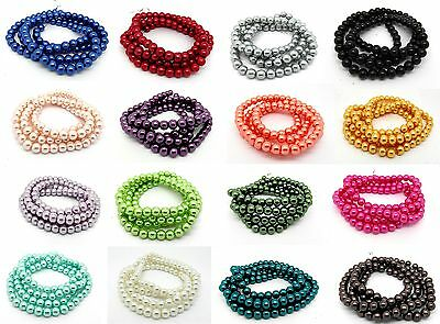 110 x 8mm Pearl Glass Beads One Strand Choice of Colours - Buy 4 Get 5th Free