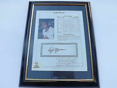EARLY WYNN CLEVELAND INDIANS  HOF Stat Sheet signed 8 x 10 MATTED & FRAMED COA