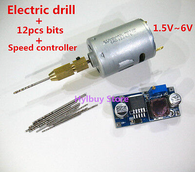 High Speed Power 380 motor electric drill +12pcs bits+  1.5v~6v 5v wood pcb