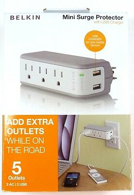 BZ103050-TVL  BELKIN 3-Outlet Mini Surge Protector with 2 USB Ports