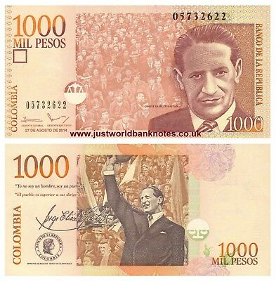 Colombia 1000 Pesos 2014 (2015) P-New Mint UNC Uncirculated Banknotes