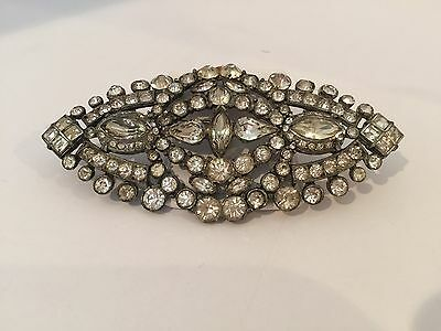 Unique Large Antique Vintage Rhinestone Pin 4.5 In Long 2 In Wide