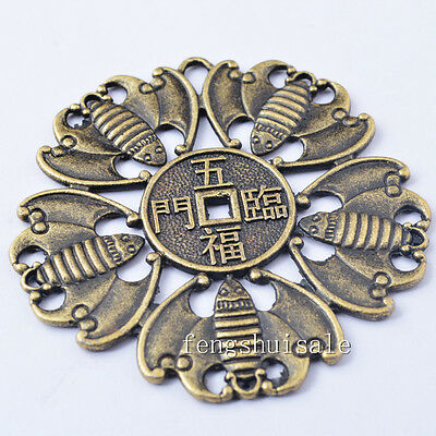 "One Big Fengshui Brass Five Bat Chinese Luck Coin Dia:2.9"" I Ching Coins Y1148"
