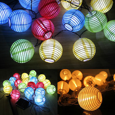 Fairy Lights String 10/20 LED Lantern Garden Party Outdoor Lamps Solar  Power New