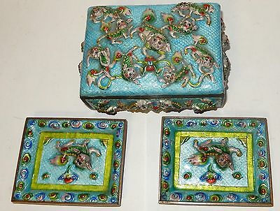 Rare Old Chinese Foo Dogs Repousse Cloisonne Enamel Humidor Box And Trays Set