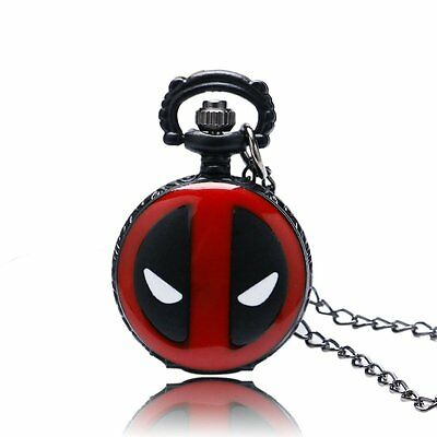 Deadpool Cosplay Anime Cartoon Quartz Pocket Watch Necklace Chain Display Analog