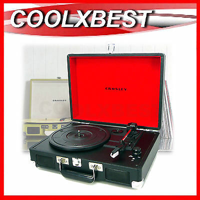 CROSLEY CRUISER PORTABLE TURNTABLE RECORD PLAYER w BUILT IN SPEAKER 3 SPEED RFB