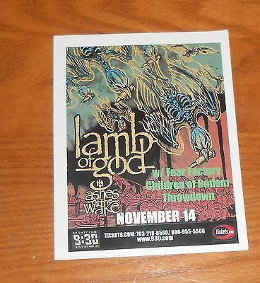 Lamb of God Ashes of the Wake Postcard Original Promo 5.5x4.5