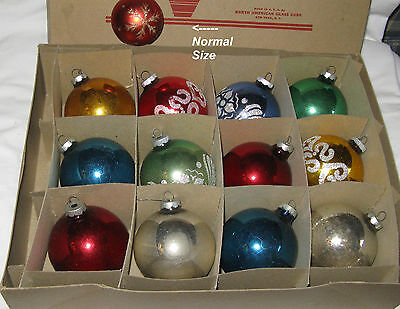 """12 ~ VINTAGE MERCURY GLASS CHRISTMAS ORNAMENTS LARGE 3 1/4"""" in Org Box."""