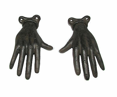 "Set of 2 Pieces 5"" Brown Metal Cast Iron Unique Hand Shaped Wall Hangers Hooks"