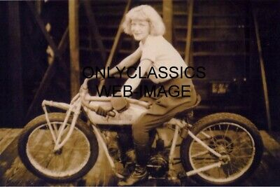 1928 Daredevil Woman Crawford Wall Of Death Indian Motorcycle Photo Coney Island