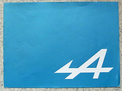 RENAULT ALPINE Car Sales Brochure 1972 FRENCH TEXT