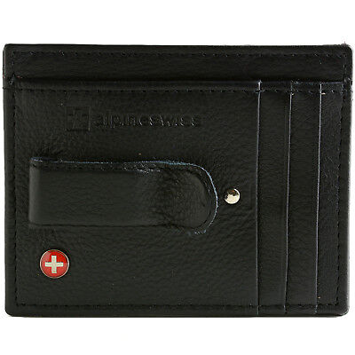 AlpineSwiss RFID Blocking Mens Money Clip Leather Minimalist Front Pocket Wallet