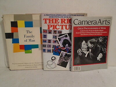3 Book Lot Camera Arts The Right Picture THe Family of Man Photography