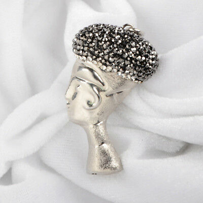Wholesale 5Pcs Alloy Carved Human Head Pave Zircon Pendant Silver Plated BJ058