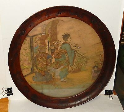 Rare 1910 Hand Carved Chinese Colored Pyrography Painting