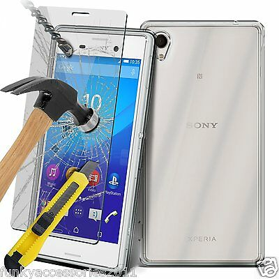 Ultra Thin Clear Gel Case Cover✔Glass Screen Protector✔Sony Xperia M4