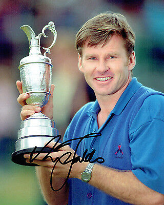 Sir Nick FALDO SIGNED 10x8 Photo AFTAL COA Autograph Open Winner St Andrews GOLF