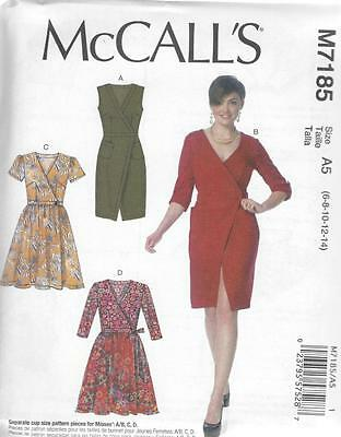 McCALL'S SEWING PATTERN MISSES' WRAP DRESSES DRESS SIZE 6 - 22 M7185