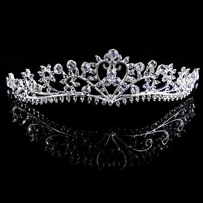 Bridal Crown Tiara Crystal Rhinestone Wedding Prom Pageant Crowns Headband Veil