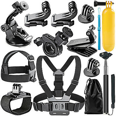 Neewer Accessories Set Kit 12 in 1 for Gopro Hero 4 Bag Monopod Head Chest Strap