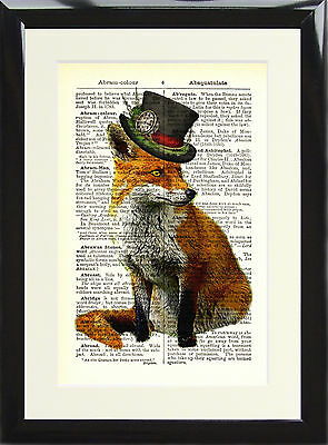 Art Print Antique Dictionary Page Vintage Steampunk Fox Top Hat Animal Picture