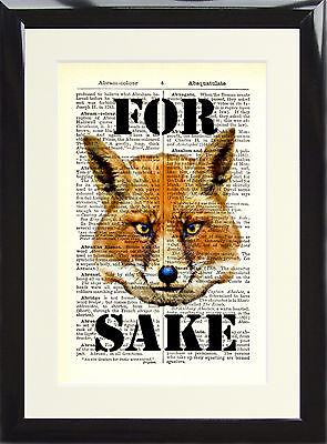 Art Print Antique Dictionary Page Vintage For Fox Sake Animal Picture Rude Swear