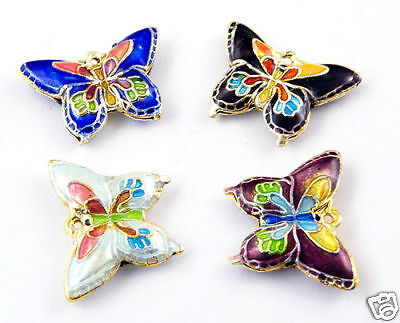 Pack of 10 Cloisonne Butterfly Beads  J1018