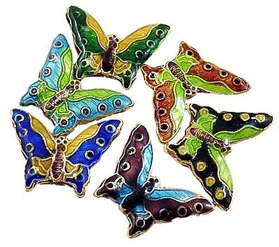 A pack of 10 Cloisonne Butterfly Beads  J1255.   R0131