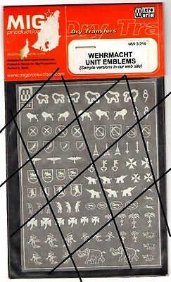 Mig Production Mw 3.219 Dry Transfer Decals 1/35 - Wehrmacht Unit Emblems