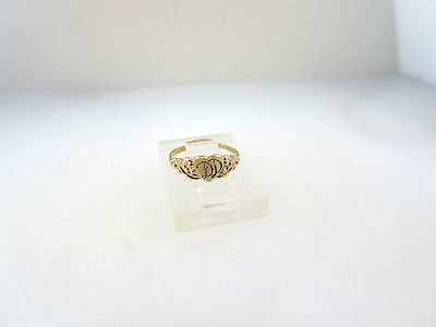 "ART NOUVEAU 10k Y/GOLD BABY CHILD'S HEART SIGNET INITIALS ""DD"" RING SZ 0 EMBOSSE"