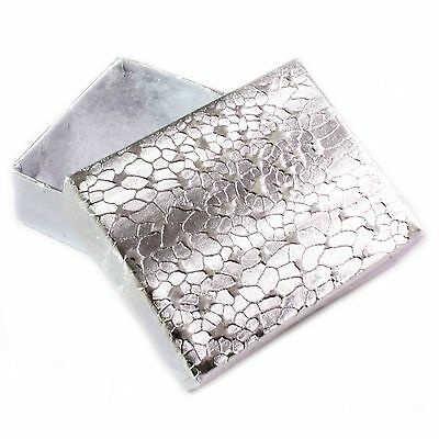 100 Jewellery / Gift Boxes Silver Texture & Wadding (11) - Free Uk Postage