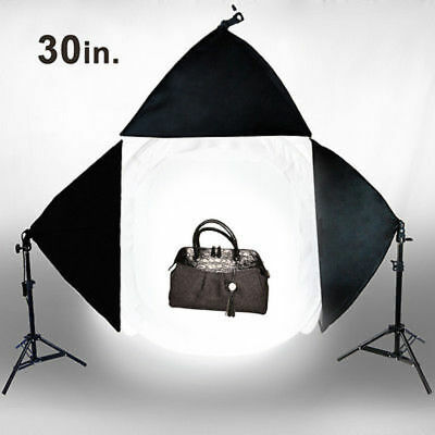 "Photo Studio 30"" Photography Light Tent Backdrop 3x Softboxes Kit Cube Lighting"