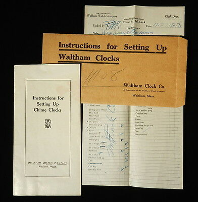 1923 Instructions For Setting Up Waltham Chime Clocks, Booklet and Packing