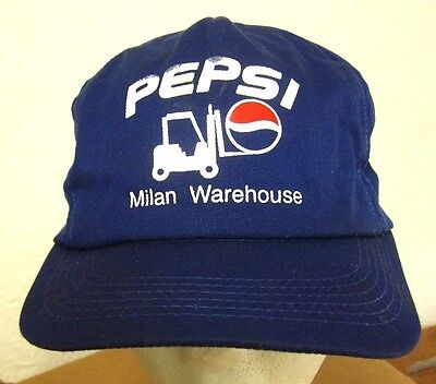 422ee6d9108 PEPSI COLA vtg baseball hat Milan Warehouse soda pop beat-up cap 1980s  Michigan